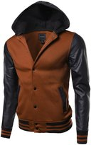 Youstar Fine Quality Hood Detachable Faux Leather Contrast Stadium Jacket Size L
