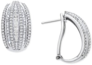 Wrapped in Love Diamond Curved Hoop Earrings (1 1/2 ct. t.w.) in Sterling Silver, Created for Macy's