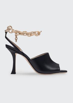 Jimmy Choo Sae Sleek Leather Chain Sandals