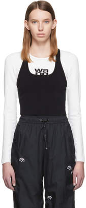 Alexander Wang White and Black Sport Layering Logo Long Sleeve T-Shirt