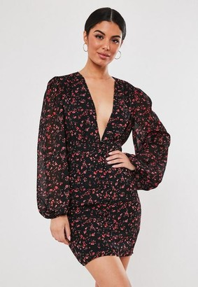 Missguided Black Floral Chiffon Milkmaid Button Down Mini Dress