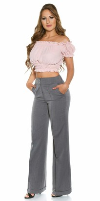 iN Style Women's Wide Leg Work Trousers Straight Leg Office Pants UK 6-16 (Grey 8)