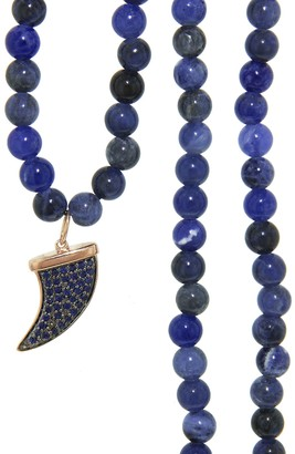 Sydney Evan Medium Blue Sapphire Horn On Sodalite Beaded Necklace