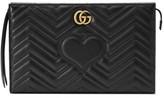 Gucci Gg Marmont Matelasse Leather Clutch - Black