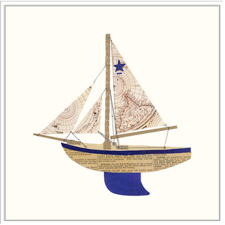 Jonathan Bass Studio Paper Cutout Boat B, Decorative Framed Hand Embellished Canvas