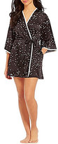 Kate Spade Confetti Dotted Charmeuse Short Wrap Robe