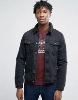Pull&bear Denim Jacket With Borg Collar In Black