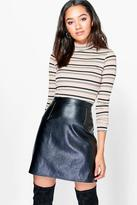 Boohoo Petite Grace Stripe Turtle Neck Knitted Top