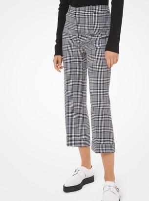 Michael Kors Glen Plaid Wool Cropped Pants