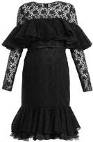 Giambattista Valli Layered Ruffled Cotton-blend Macrame-lace Dress - Womens - Black