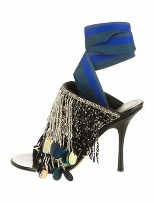 Dries Van Noten Embellished Wrap-Around Sandals Black
