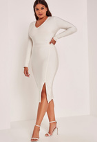 Missguided White Plus Size Bandage V-Neck Long Sleeve Bodycon Dress