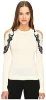Yigal Azrouel Cold Shoulder Lace Applique Sweater