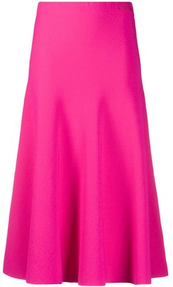 Valentino High-Waisted A-line Crepe Midi Skirt