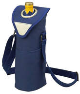 Picnic at Ascot Wine/Water Bottle Tote with Shoulder Strap - Aegean Blue