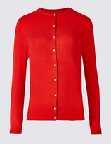M&S Collection Ribbed Round Neck Cardigan