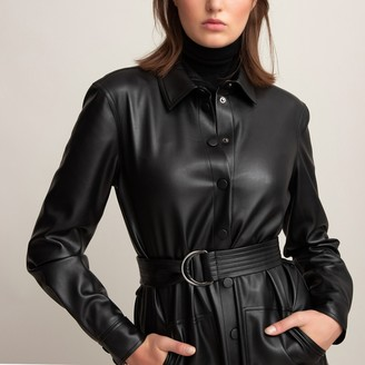 La Redoute Collections Faux Leather Shirt Dress with Long Sleeves