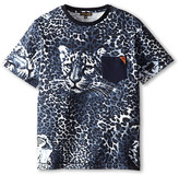 Roberto Cavalli Short Sleeve Allover Leopard Print T-Shirt w/ Leopard Face (Big Kids)