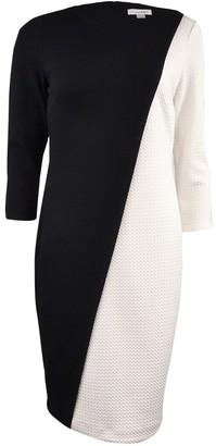 Calvin Klein Women's Petite 3/4 Sleeve Color Block Shift Dress