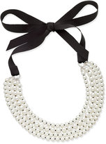 Charter Club Silver-Tone Imitation Pearl and Ribbon Multi-Strand Necklace