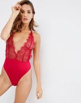 Asos Scarlet Lace High Leg Bodysuit