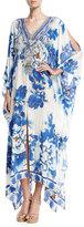 Camilla Split-Detail Embellished Silk Caftan Coverup, Ring of Roses