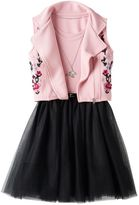 Knitworks Girls 7-16 Tulle Dress With Necklace & Moto Vest Set