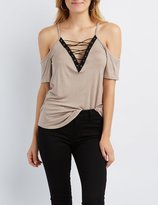 Charlotte Russe Lace-Up Cold Shoulder Tee