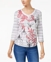 Karen Scott Petite Studded V-Neck Top, Created for Macy's