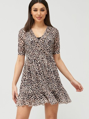 Very Mesh Ruffle Neck Wrap Tea Mini Dress - Animal