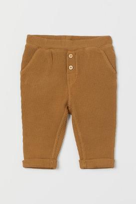 H&M Slub Jersey Pants - Yellow