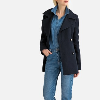 La Redoute Collections Cotton Double-Breasted Pea Coat with Pockets