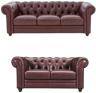 Violino Chester Leather 3 Seater + 2 Seater Premium Leather Sofa Set (Buy and SAVE!)