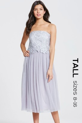 Tall Grey Lace Overlay Bandeau Midi Dress