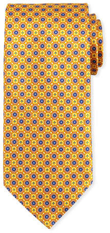 Canali Connected Medallions Silk Tie, Yellow