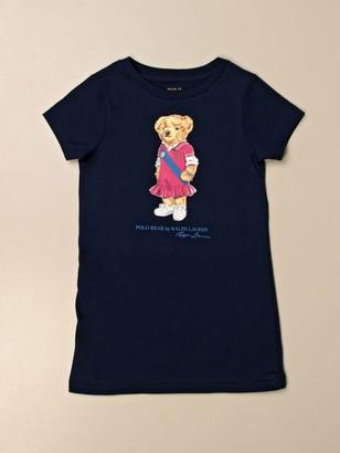 Polo Ralph Lauren Toddler T-shirt Dress In Cotton With Bear Print