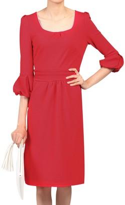 Jolie Moi Boat Neck Dress, Red