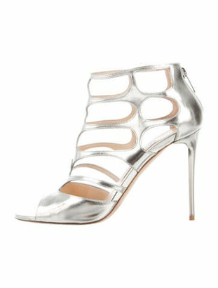 Jimmy Choo Leather Gladiator Sandals Silver