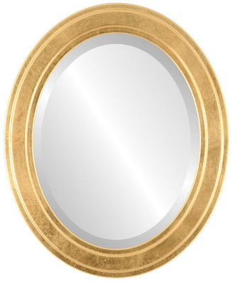 """The Oval And Round Mirror Store Wright Framed Oval Mirror in Gold Leaf, 21""""x27"""""""