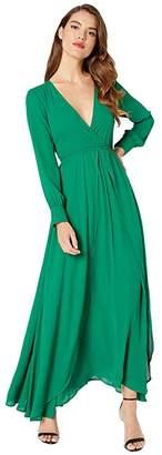 Unique Vintage Long Sleeve Farrah Maxi Dress (Black/Silver) Women's Dress