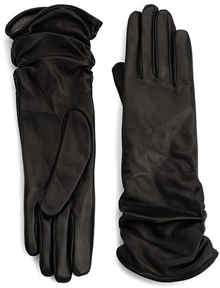 Saks Fifth Avenue Ruched Leather Gloves