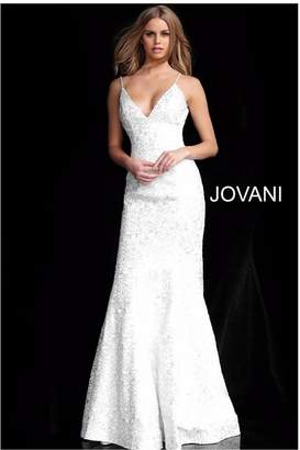 Jovani Silver Embroidered Gown