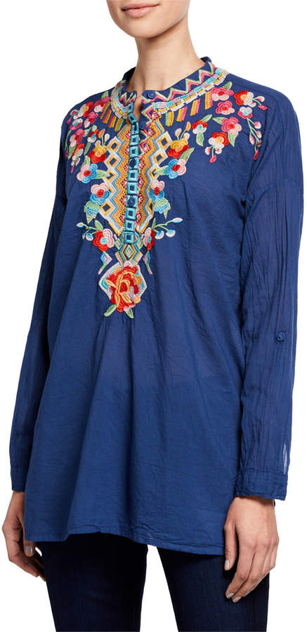 Johnny Was Jessa Floral-Embroidered Tunic