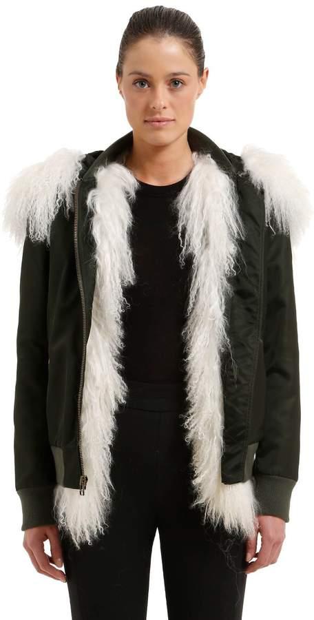 Mr & Mrs Italy Slim Fit Bomber Jacket W/ Fur