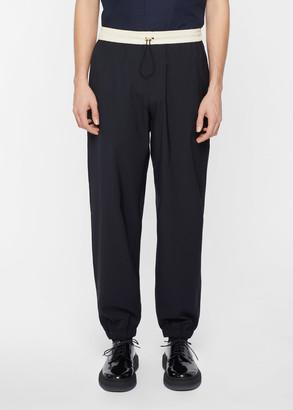 Paul Smith Men's Dark Navy Technical Wool-Blend Drawstring Trousers