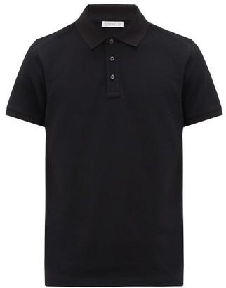 Moncler Logo-applique Cotton-pique Polo Shirt - Black