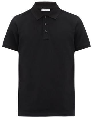 Moncler Logo-patch Cotton-pique Polo Shirt - Black