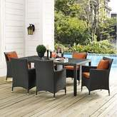 "Tripp Brayden Studio 7 Piece Dining Set with Sunbrella Cushions Brayden Studio Fabric: Tuscan, Table Size: 59"" L x 39.5"" W"