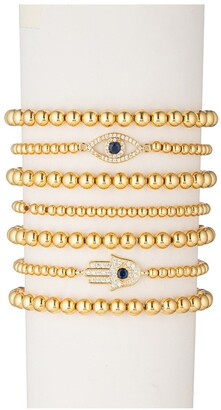 Eye Candy Los Angeles Evil Eye Hamsa Titanium Gold Stretch Beaded Bracelets - Set of 7