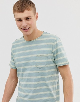 Brave Soul Pocket Stripe T-Shirt-Blue